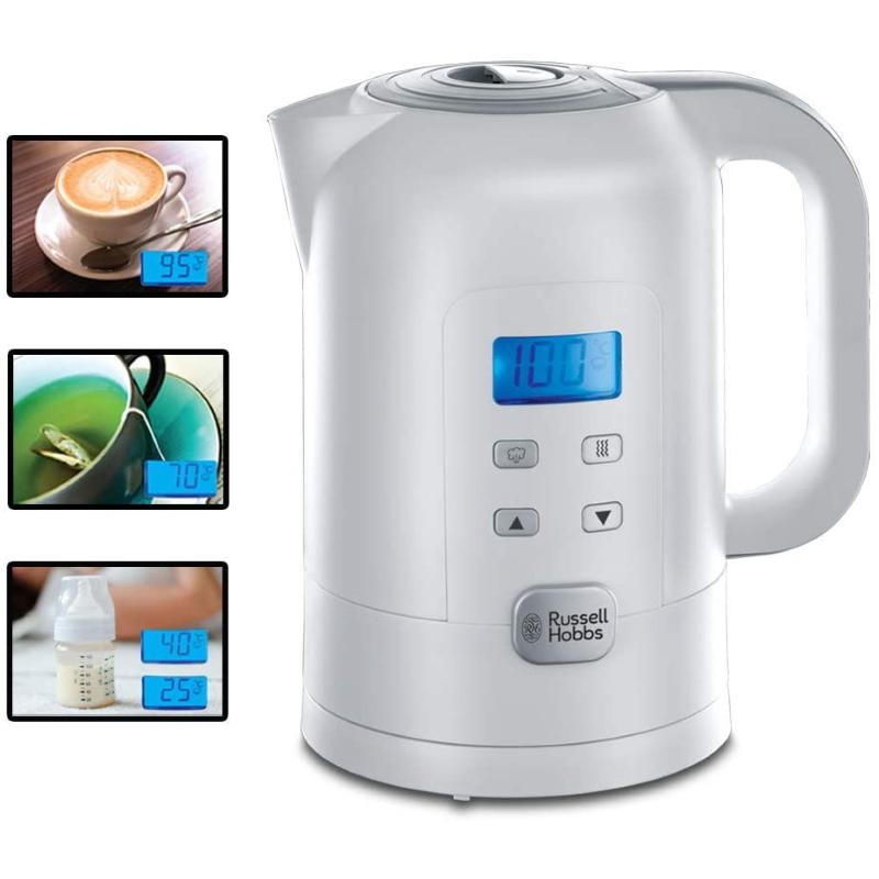 Russell Hobbs Wasserkocher Precision, 1,7l, 2200W, digitale Temperatureinstellung & LCD Anzeige, 25°-100°C einstellbar für die Zubereitung von Babynahrung & Tee, Warmhaltefunktion, Teekocher 21150-70 [Energieklasse A+++]