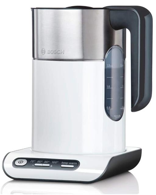 Bosch TWK8611P kabelloser Wasserkocher, Abschaltautomatik, Überhitzungsschutz, Temperaturwahl, Warmhaltefunktion, 1,5 L, 2400 W, weiß