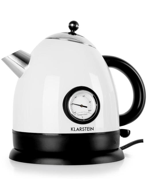Klarstein – Aquavita, Wasserkocher, Teekocher, Retro Teekessel Design, 1,5 Liter, 2200 Watt, kabellos, Vintage Temperatur-Anzeige, Cool-Touch-Griff, weiß